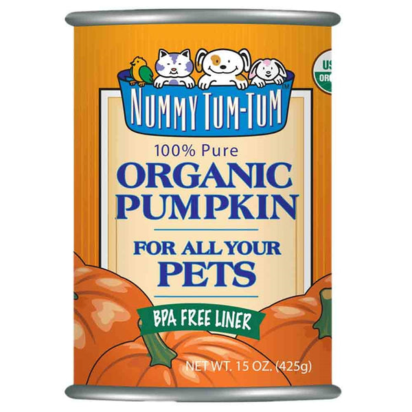 Nummy Tum-Tum Pure Organic Pumpkin Canned Dog & Cat Food Supplement, 15-oz