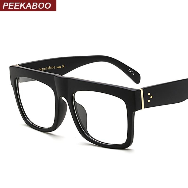 Peekaboo matte black glasses frames for men square clear transparent frame glassesiehrb-iehrb