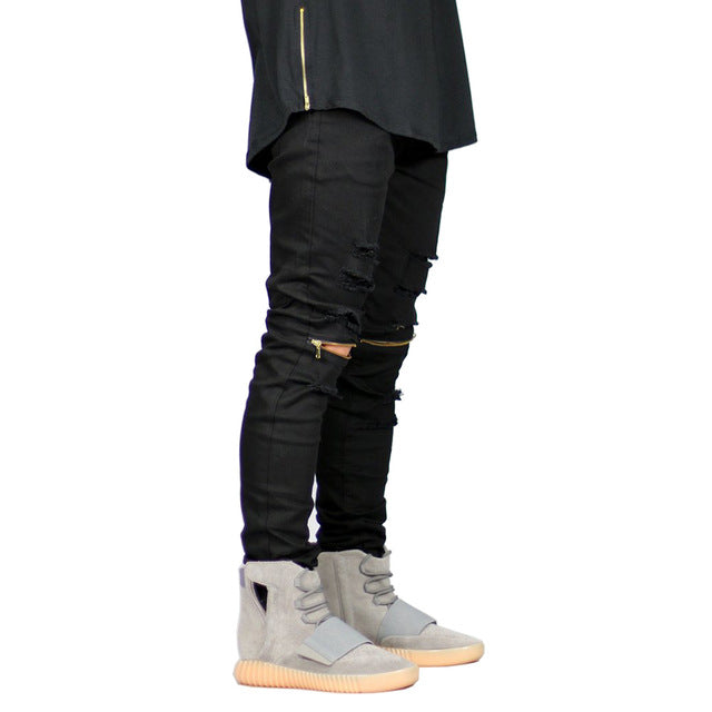 reputation first purchase genuine buy cheap Fashion Men Knee Zipper Jeans Design Casual Stretch Destroyed Ripped Skinny  Jeans For Men Y1029
