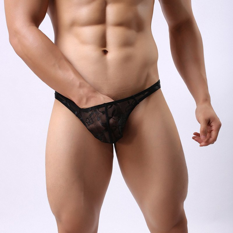 Ahkuci Sexy Men's Lace Thong Underwear Men Thong T Transparent Breathable Jockstraps Gay G-string & Thongs Erotic Brief Lingerie-iehrb
