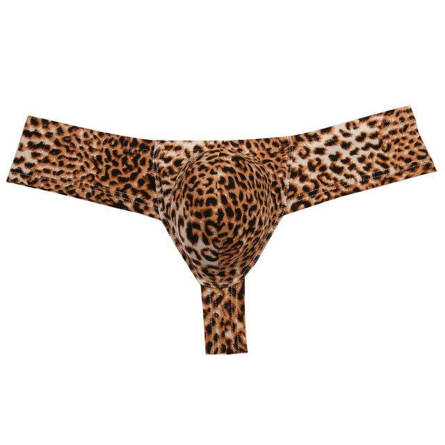 Fashion Leopard Sexy Men's Underwear Thongs and g strings Penis Pouch Bikini Male Thong Underwear Men Underpants Tanga Smooth-iehrb