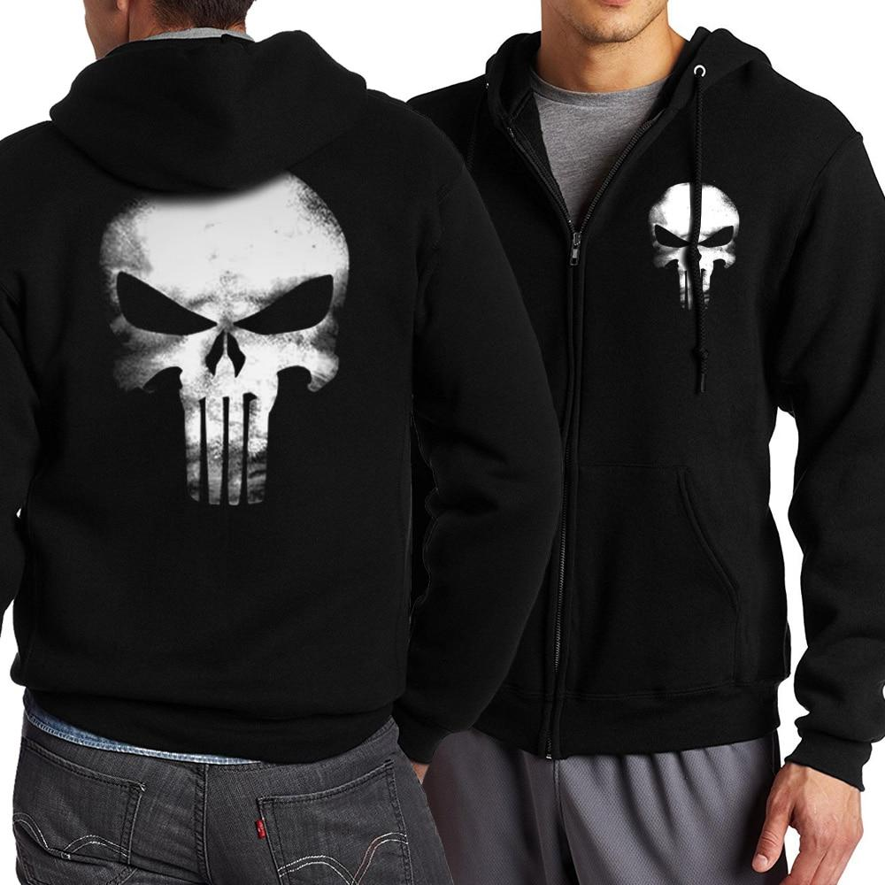 the punisher Skull hoodies men zipper fitness casual fleece jacket harajuku sweatshirtsiehrb-iehrb