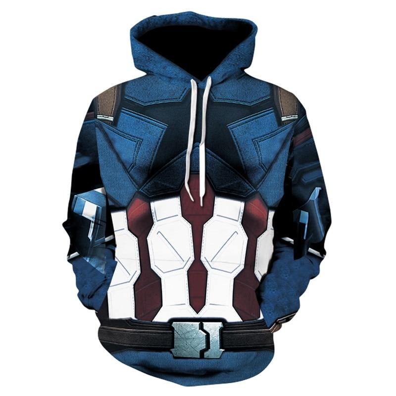 Men Captain America Avengers League Superhero Fleece Hoodie Clothing Zipper Jacket Coatiehrb-iehrb