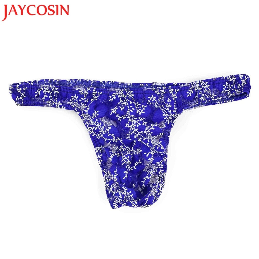 SIF Hot! Men Underwear Sexy Mens G-String Shorts Bulge Pouch Thongs Underpants Polyester Lace Print low-Rise Drop Shipping 801-iehrb