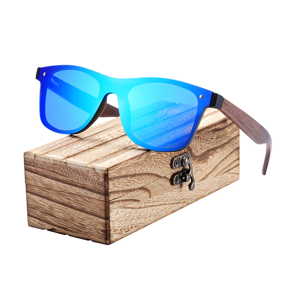 BARCUR 2018 Wood Glasses Black Walnut Sunglasses Eyewear Accessories Female/Male Sunglasses Rimless for Men glasses-iehrb