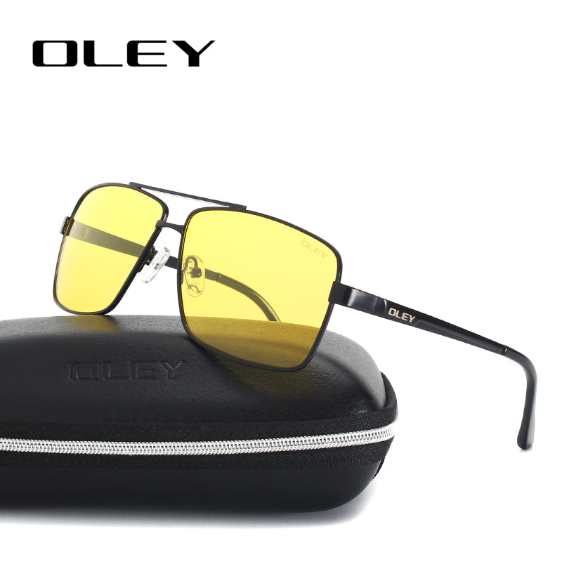 abfecf289af OLEY Mens Polarized Night Driving Sunglasses Men Brand Design Yellow Lens  Night Vision Glasses Square Goggles