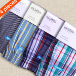 High Quality ! ekMlin Brand 4-Pack Men's Boxer Shorts Woven Cotton 100% Plaid 50s Combed yarn male Underpant Loose Breathable-iehrb