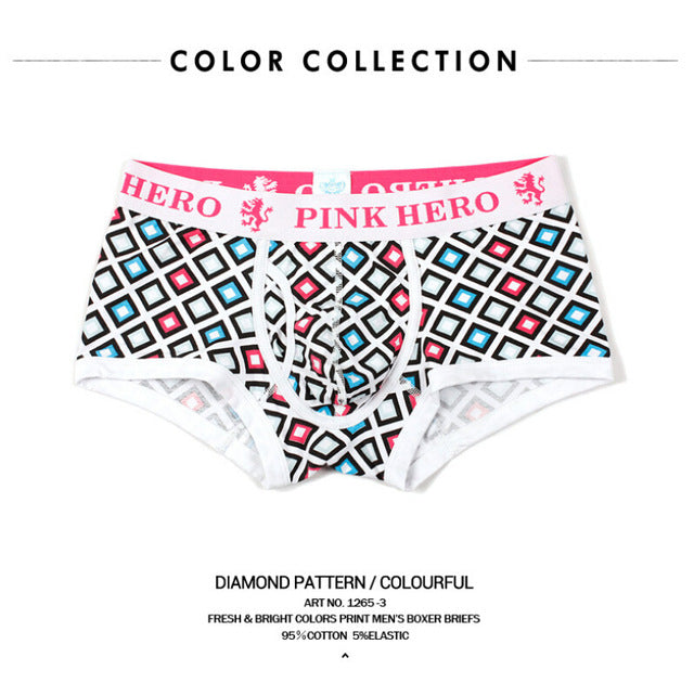 Famous Brand PINK HERO all Cotton Men's Underwear Man Underpant Geometric Boxer Male Shorts Cuecas Plus Size XXL Fashion 1265-iehrb