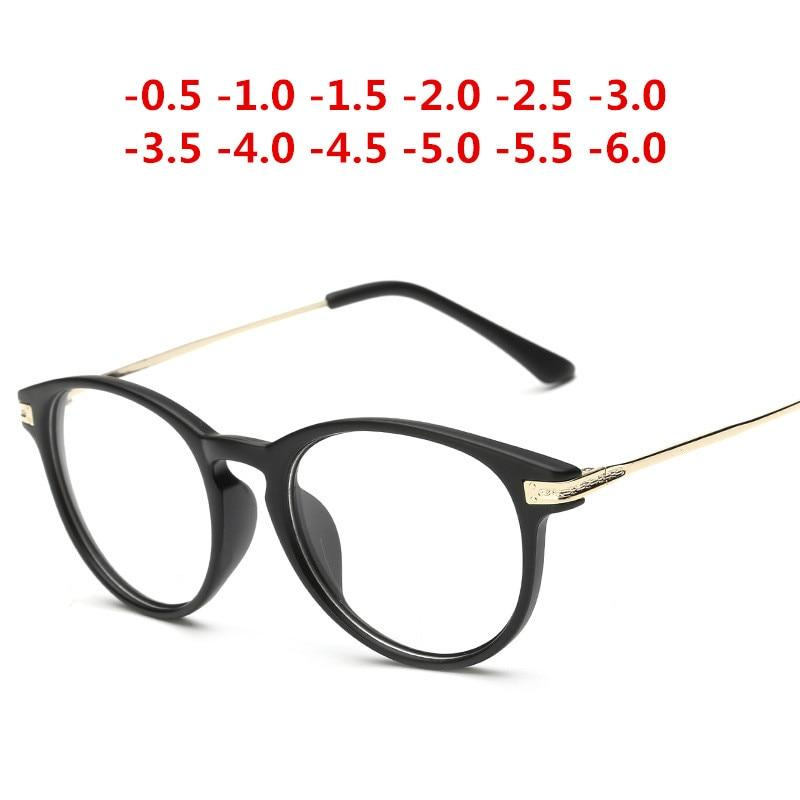 '-0.5~-6.0 Matte Black with Diopter Glasses Finished Myopia Glasses Women Men -50iehrb-iehrb