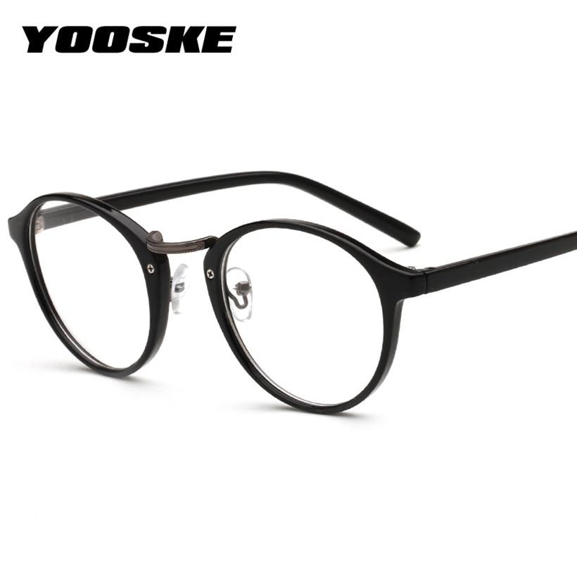 YOOSKE Vintage Glasses Women Retro Round Eyeglasses Frame Men Transparent Glass Opticaliehrb-iehrb