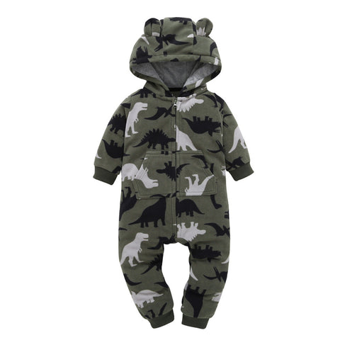 Hooded Camouflage Full Sleeve Romper