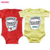 Yummz Tomato Ketchup Yellow Mustard Red and Yellow Bodysuit Baby Boy Twins Baby Clothes Twins Baby Boys Girls