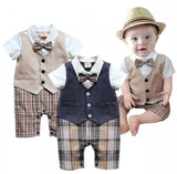 Gentleman baby boys short sleeve wedding and party romper