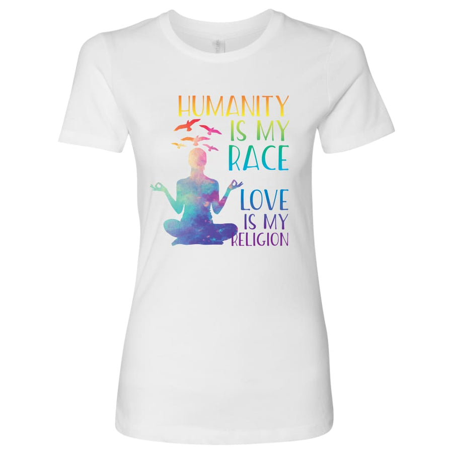 Humanity Is My Race - Next Level Womens Shirt / Black / S - T-Shirt
