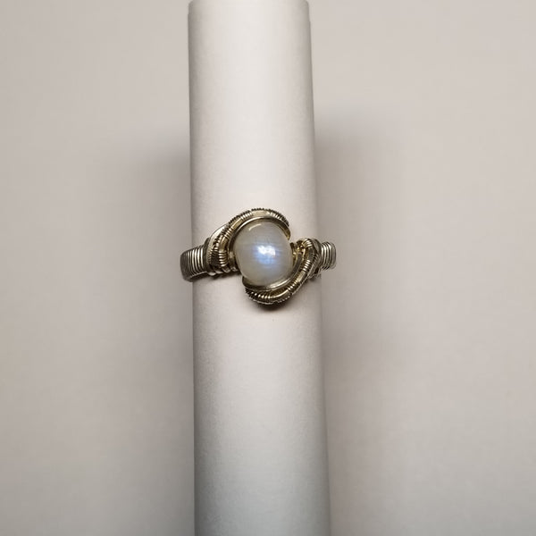 Size 4.5 silver / moonstone ring