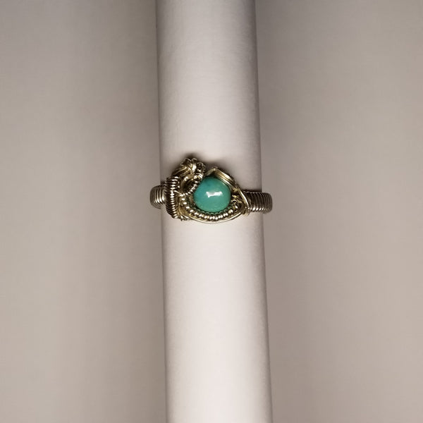 Size 7 silver / turquoise ring