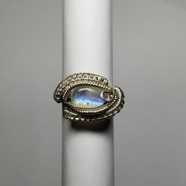 Size 5 silver / moonstone ring