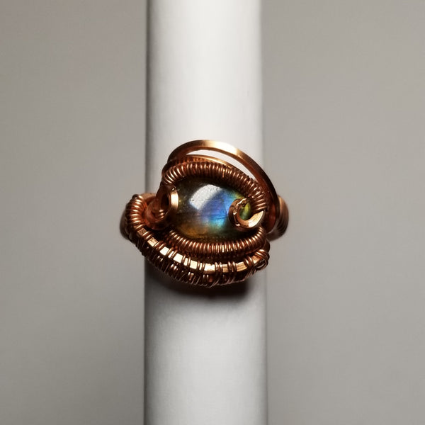 Size 4 labradorite/ non-tarnish copper ring