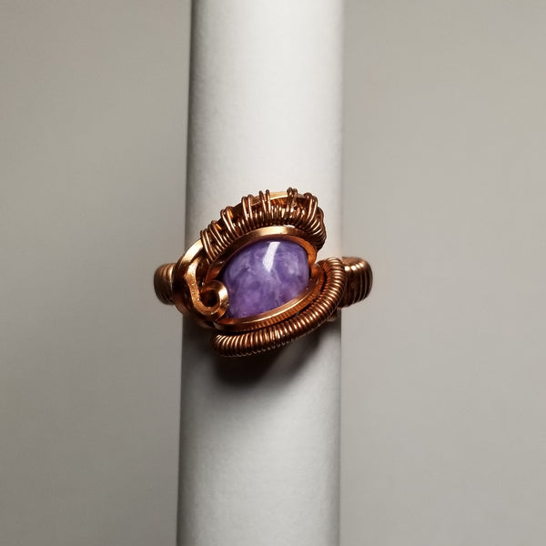 Size 6 charoite / non tarnish copper ring