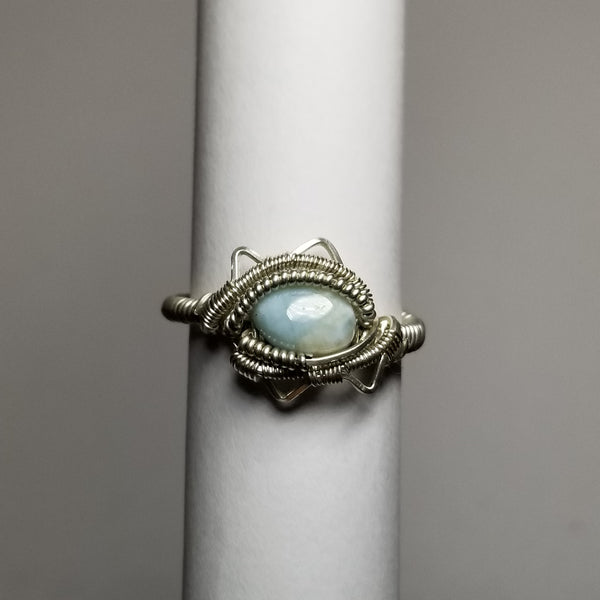 Size 9.5 blue aragonite / silver ring