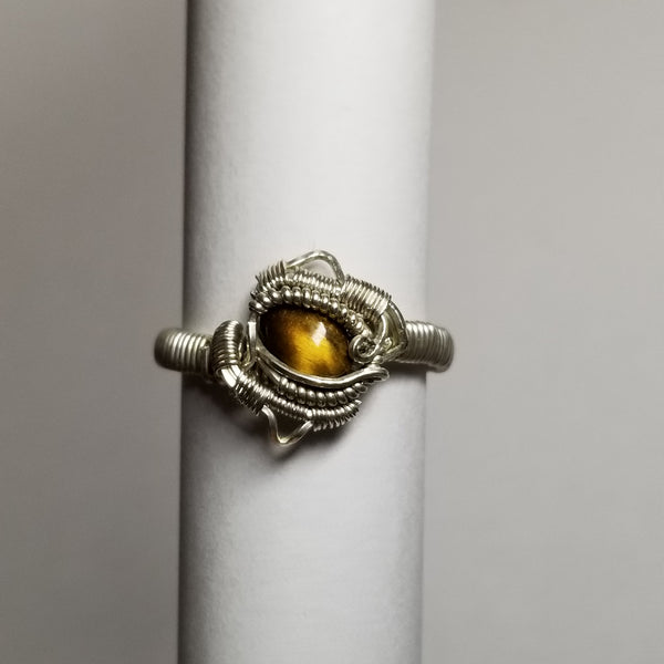 Size 11 tigers eye / silver ring