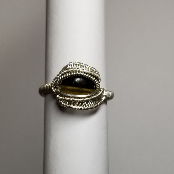 Size 12 tigers eye / silver ring