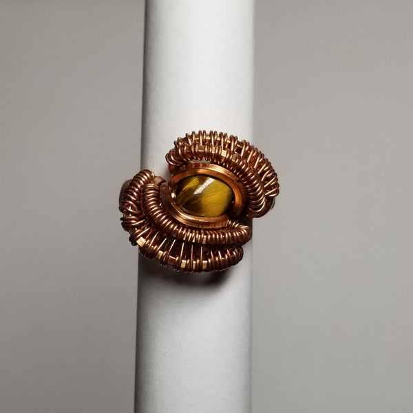 Size 3 tigers eye / non-tarnish copper ring