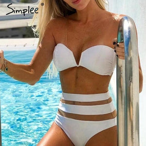 High Waist Mesh Striped Bikini
