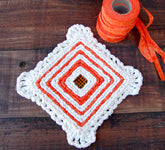 Color Crazy Pattern Trivet w/ Crochet Scalloped Edge