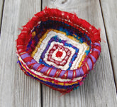 Color Crazy Pattern Trinkets Basket for 3.75 Mesh Canvas with Sari Ribbon