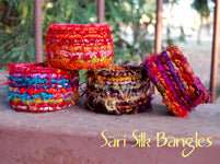 Color Crazy Pattern Sari Silk Bangle