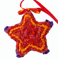Locker Hooked Star Ornament with Velvety Fabric Strips