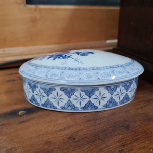 Blue & White Ceramic Dish w/Lid