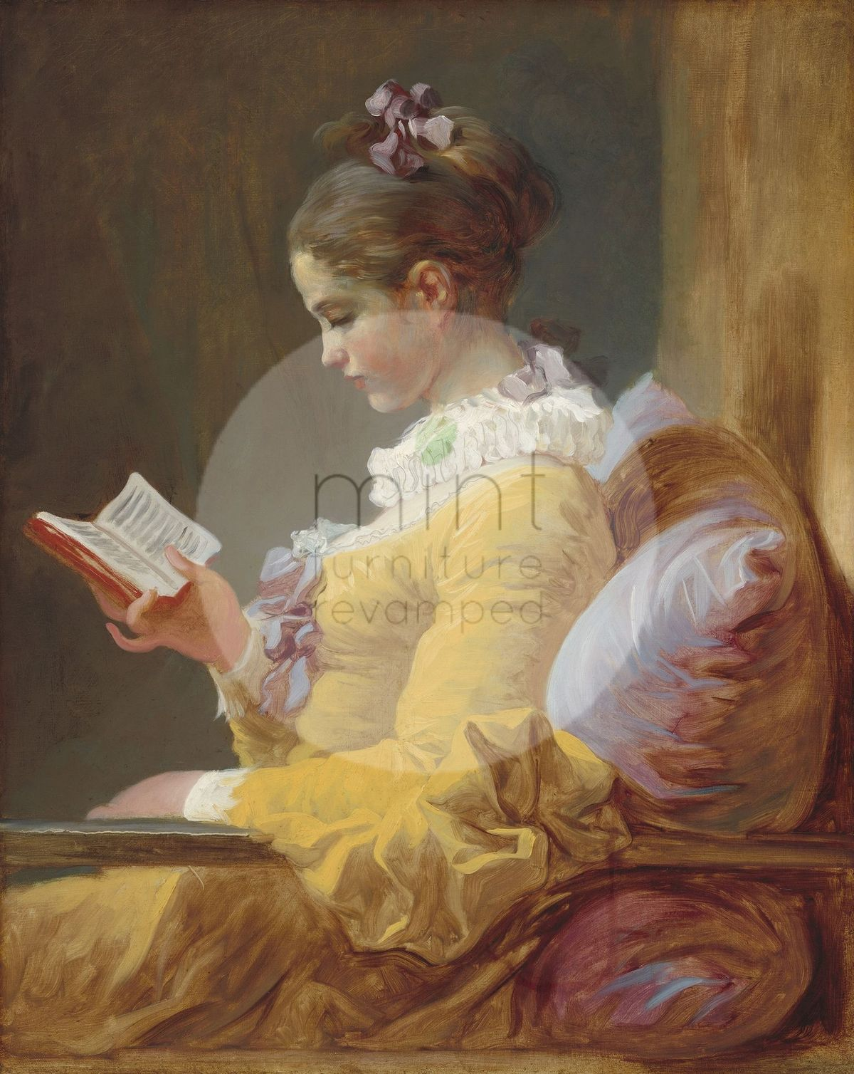 Young Girl Reading MINT Decoupage Paper