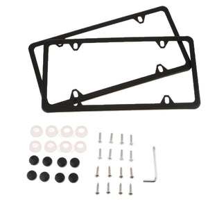 2 Pieces 4 Holes Stainless Steel Polish License Plate Frame and Screws Black & Silver
