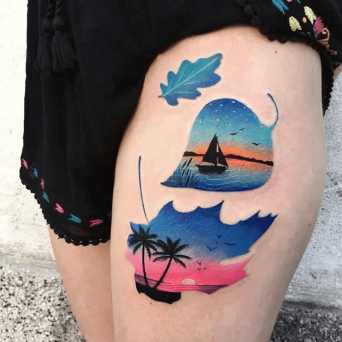 colorful thigh tattoo for girls
