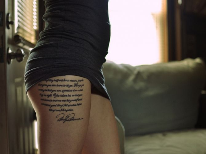 thigh tattoo for girls