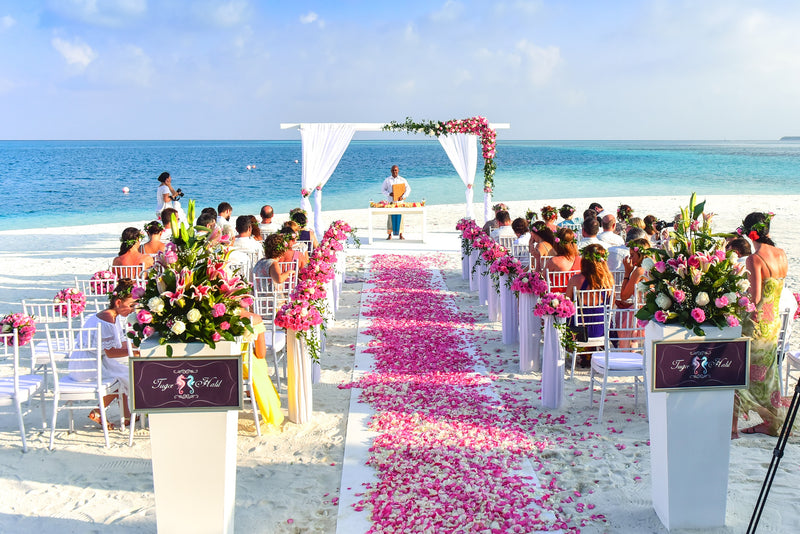 A beautiful outdoor wedding ceremony on the beach