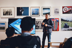 A presentation at an art gallery