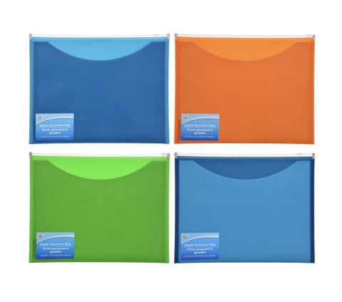 Document Pouches with Zipper Closures- 4 count - AVM