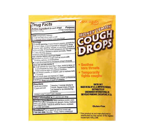 Image of Honey Lemon Cough Drops- 90 drops (3 pack) - AVM
