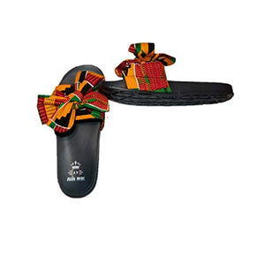 Women Open Toes Afrikan Kente Slide Sandals - AVM