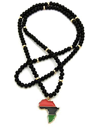 Pan Afrikan Colored Afrika Map Wooden Bead Necklace