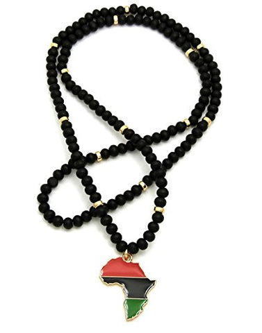 Image of Pan Afrikan Colored Afrika Map Wooden Bead Necklace - AVM