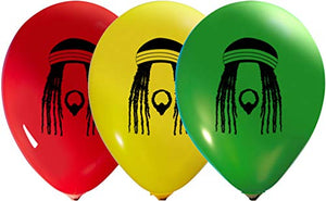 Reggae Balloons - 12 Inch Latex - 2 Sided Print (16 Count)