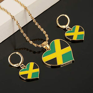 Jamaican Flag Gold Color Jewelry