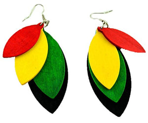 Women's Rastafarian Dangling Hoop Wooden Earrings - AVM