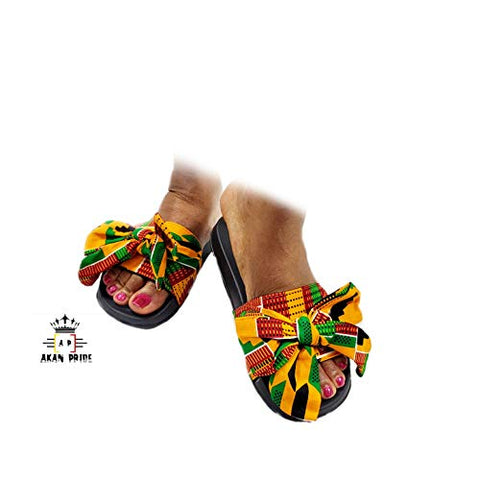 Image of Women Open Toes Afrikan Kente Slide Sandals - AVM