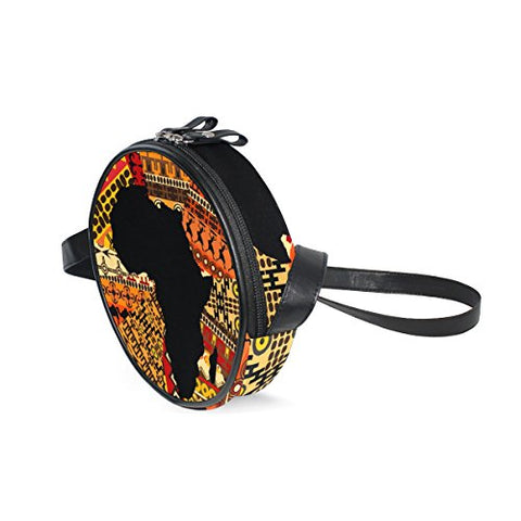 Afrika Map On Ethnic Pattern Round Crossbody Bag - AVM