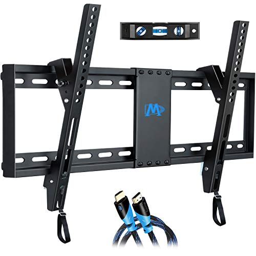 "Mounting Dream Tilt TV Wall Mount Bracket for Most 37-70 Inches TVs, Fits 16"", 18"", 24"" Studs and Loading Capacity 132 lbs"